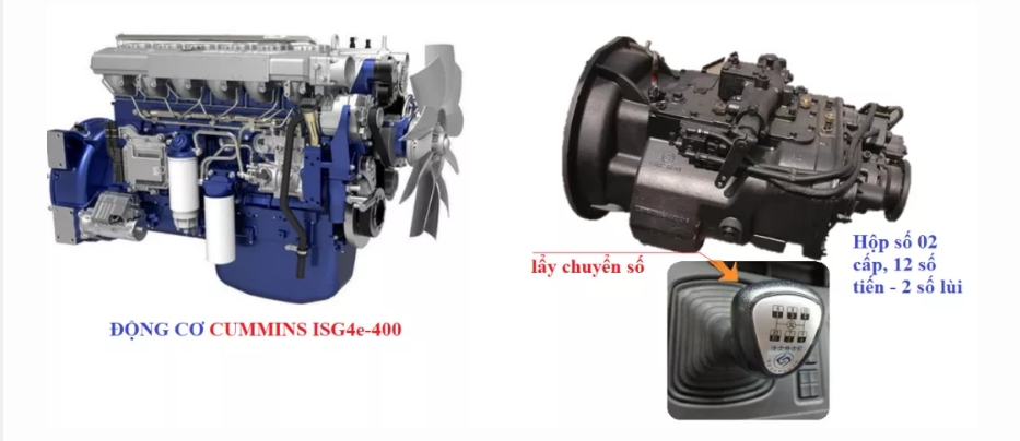 Động cơ xe đầu kéo Fv400 cầu 1 cấp