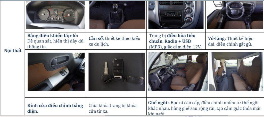 Nội thất xe tải cabin kép thaco